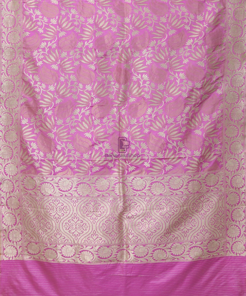 Pure Banarasi Uppada Silk Handwoven Saree in Taffy Pink 1