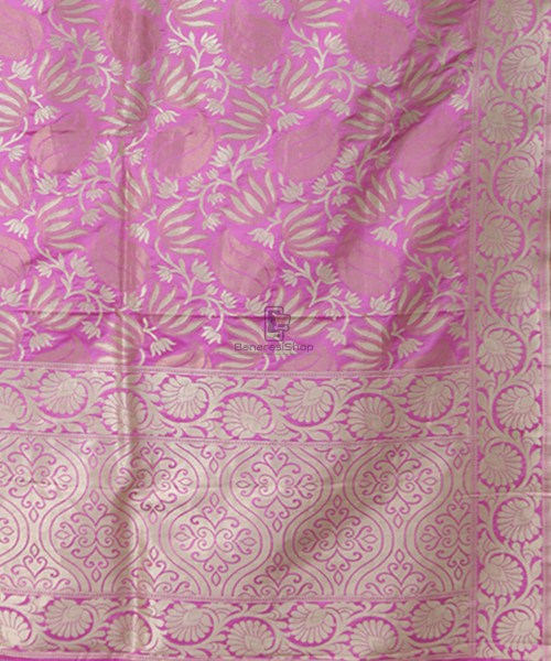Pure Banarasi Uppada Silk Handwoven Saree in Taffy Pink 5