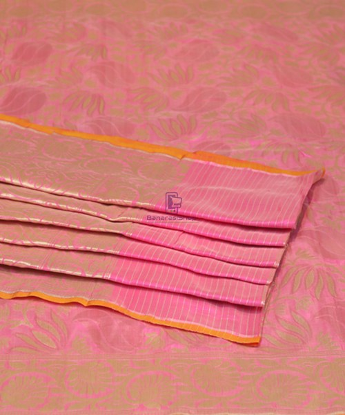 Pure Banarasi Uppada Silk Handwoven Saree in Taffy Pink 7