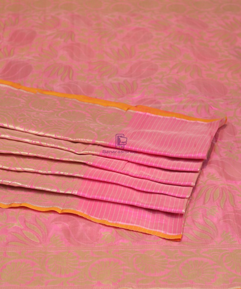 Pure Banarasi Uppada Silk Handwoven Saree in Taffy Pink 4
