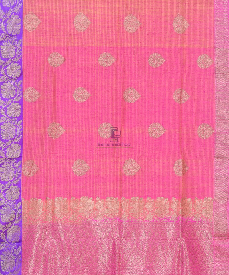 Banarasi Pure Handloom Dupion Silk Punch Pink Saree 1