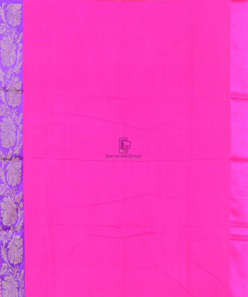 Banarasi Pure Handloom Dupion Silk Punch Pink Saree 5