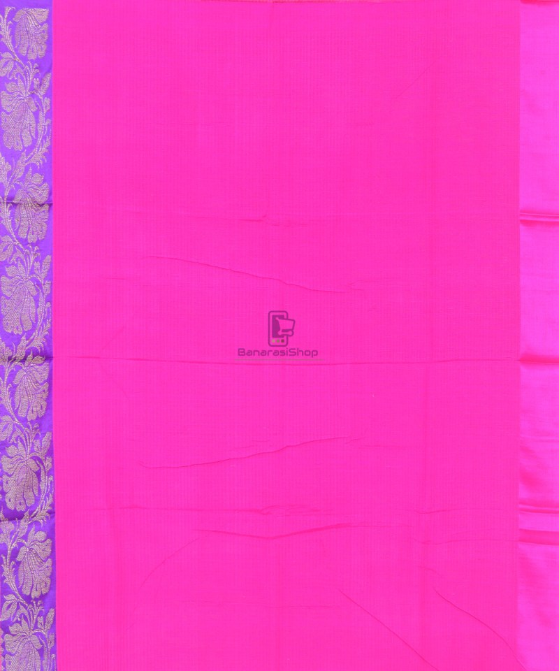 Banarasi Pure Handloom Dupion Silk Punch Pink Saree 3