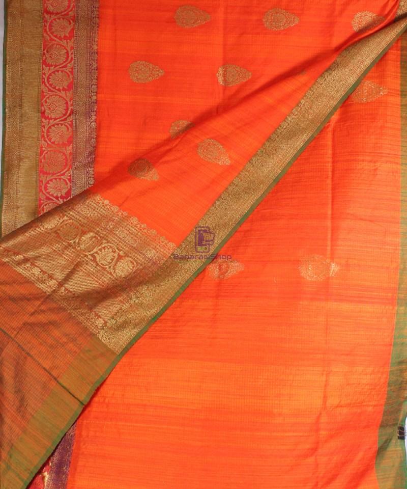 Handwoven Pure Banarasi Dupion Silk Saree in Orange 2