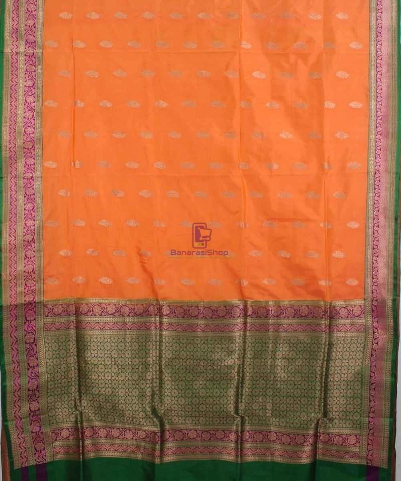 Banarasi Pure Katan Silk Handloom Saree in Orange 1