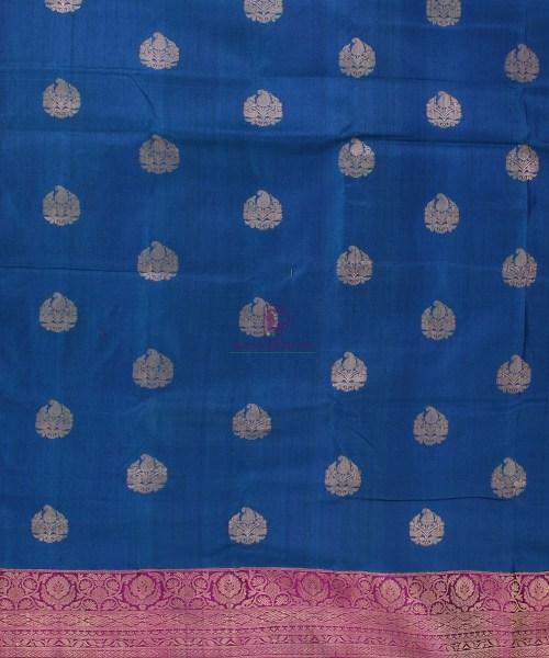 Pure Banarasi Tussar Silk Handwoven Double Shaded Saree in Berry Blue 4