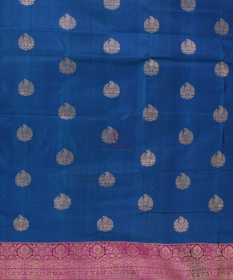 Pure Banarasi Tussar Silk Handwoven Double Shaded Saree in Berry Blue 2