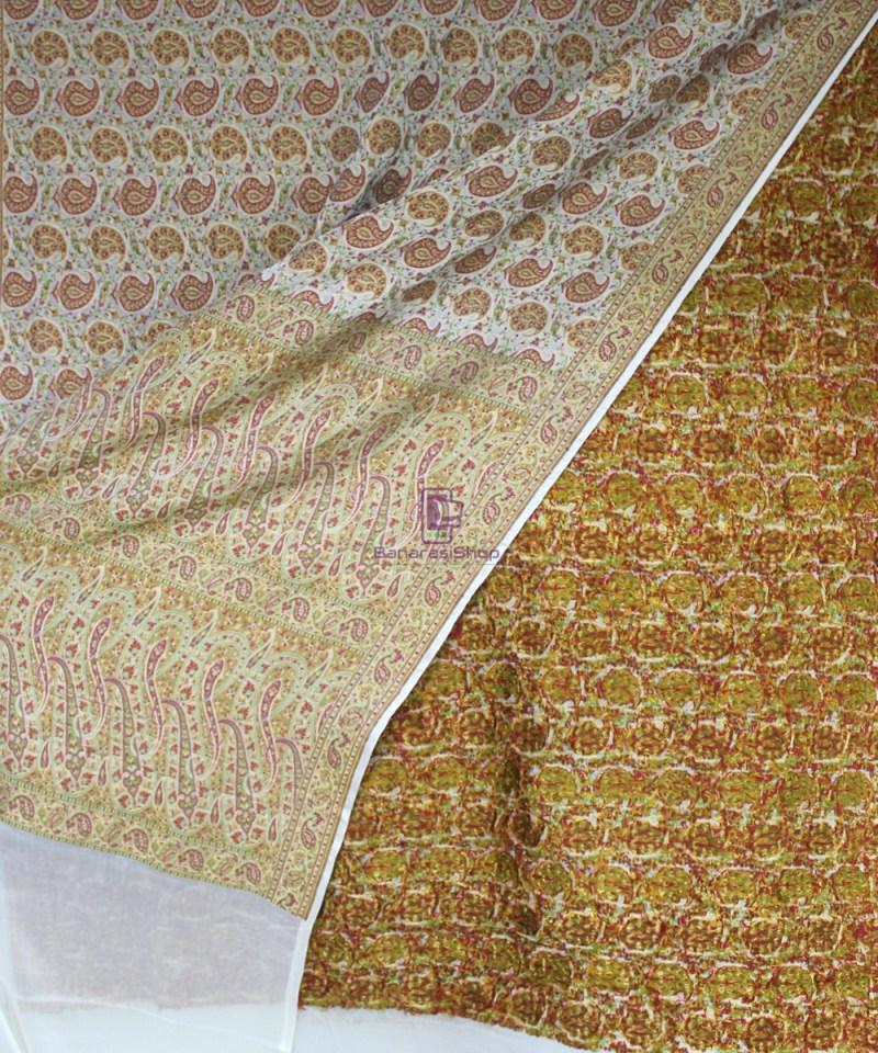 Handwoven Pure Banarasi Jamdani Chiffon Silk Saree in White 3