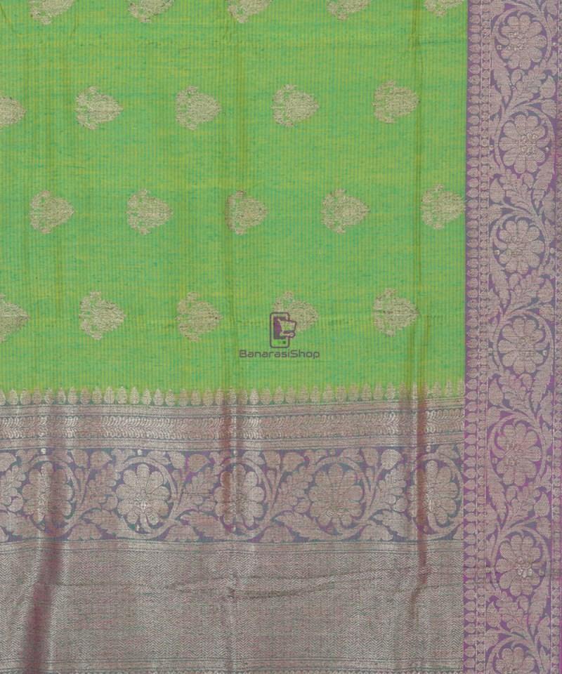 Banarasi Pure Handloom Dupion Silk Shamrock Green Saree 2