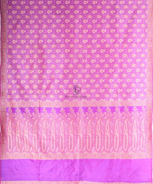 Handwoven Banarasi Jamdani Kataan Silk Saree in purple 5