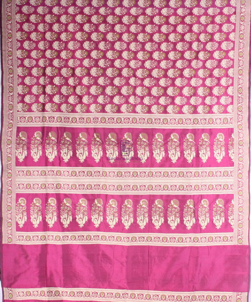 Handwoven Pure Banarasi Jamdani Katan Silk Saree in Dark Pink 3
