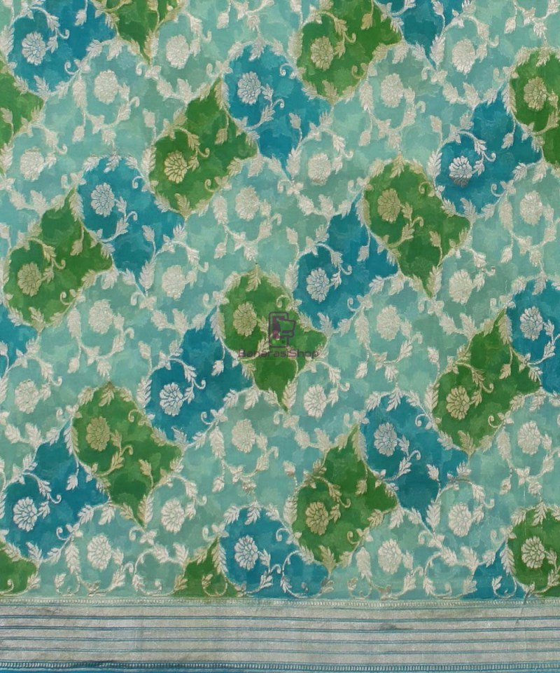 Pure Banarasi Handpainted Khaddi Georgette Silk Handloom Saree in Green and Blue 2