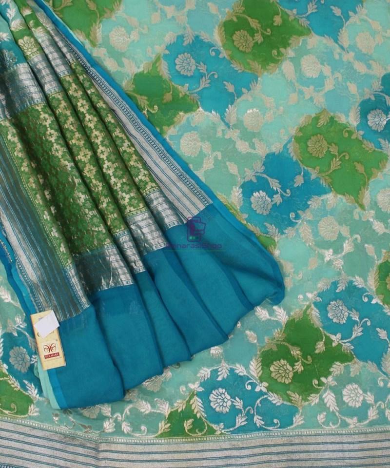 Pure Banarasi Handpainted Khaddi Georgette Silk Handloom Saree in Green and Blue 3