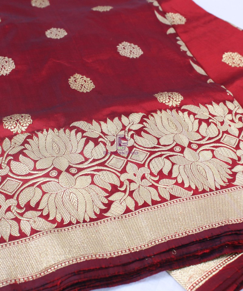 Handwoven Pure Katan Banarasi Silk Saree in Royal Red 1