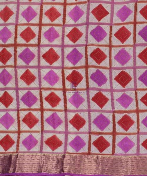 Pure Banarasi Handpainted Muga Silk Handloom Saree in Pink and Red 4