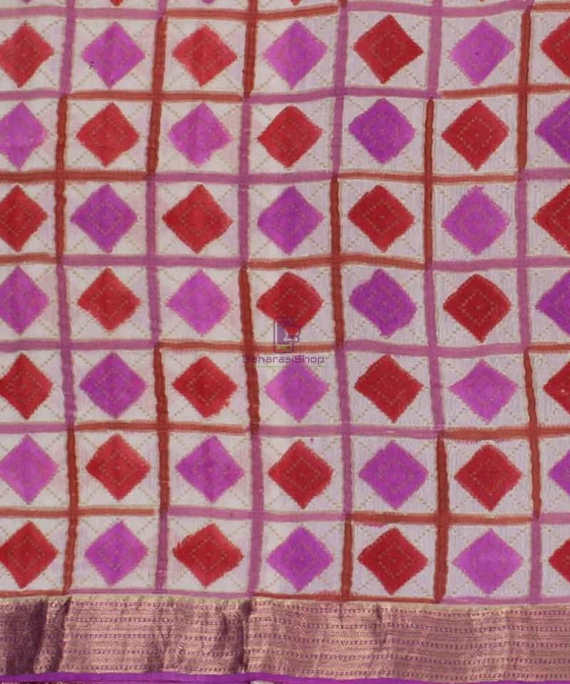 Pure Banarasi Handpainted Muga Silk Handloom Saree in Pink and Red 2