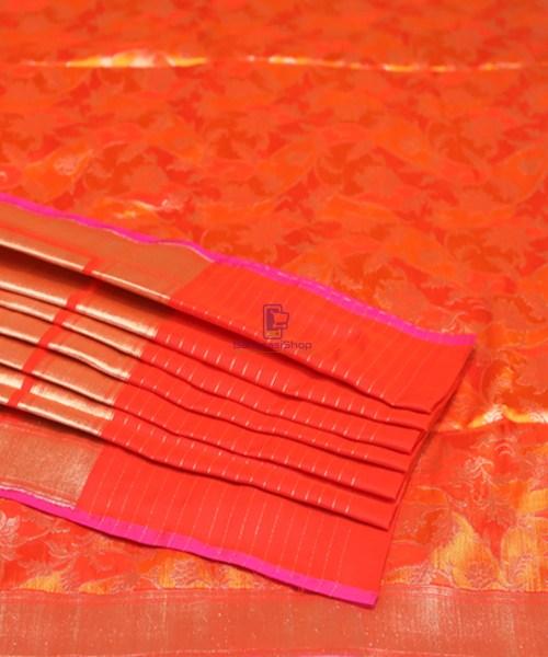 Handwoven Pure Banarasi Rankat Uppada Silk Tangerine Orange Saree 7