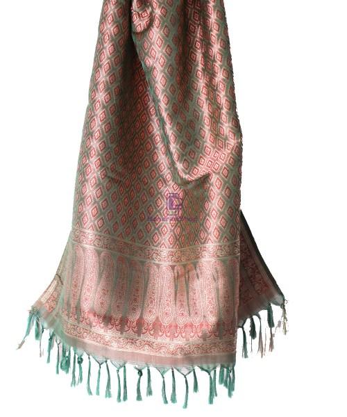 Handwoven Tanchoi Banarasi  Silk Stole in Basil Green 5