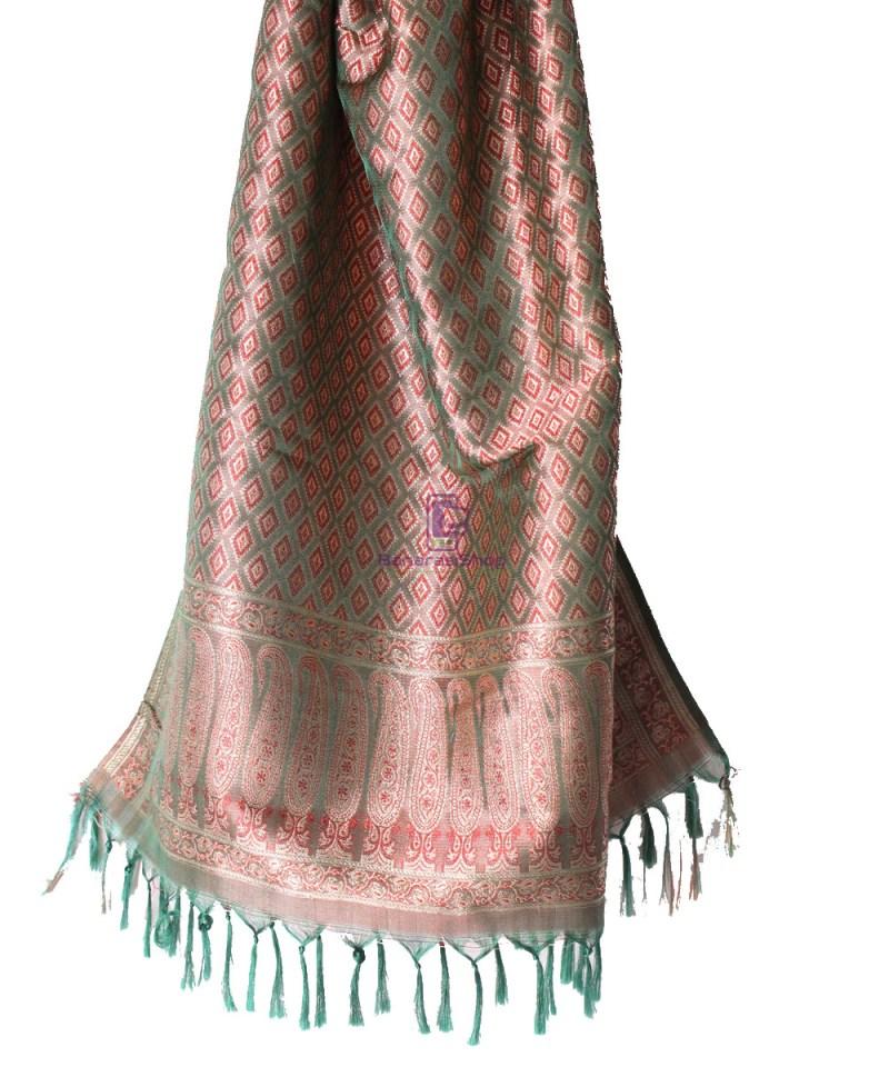 Handwoven Tanchoi Banarasi  Silk Stole in Basil Green 3