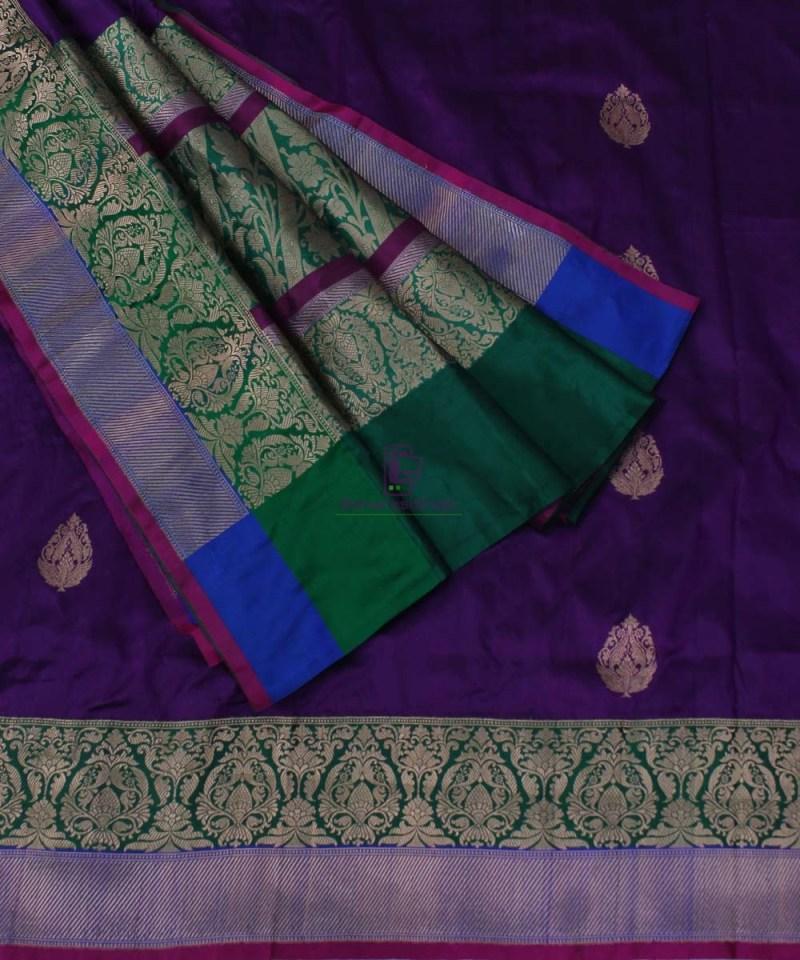 Banarasi Pure Katan Silk Handloom Plum Purple Saree 3