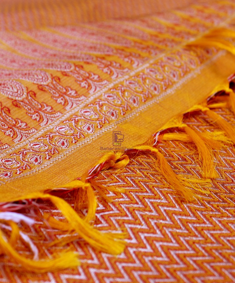 Handwoven Tanchoi Banarasi  Silk Stole in Yellow Orange 1