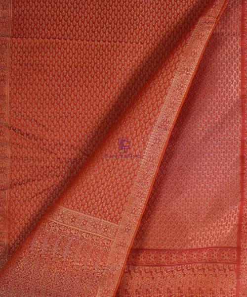 Handwoven Tanchoi Banarasi  Silk Stole in Crimson 4