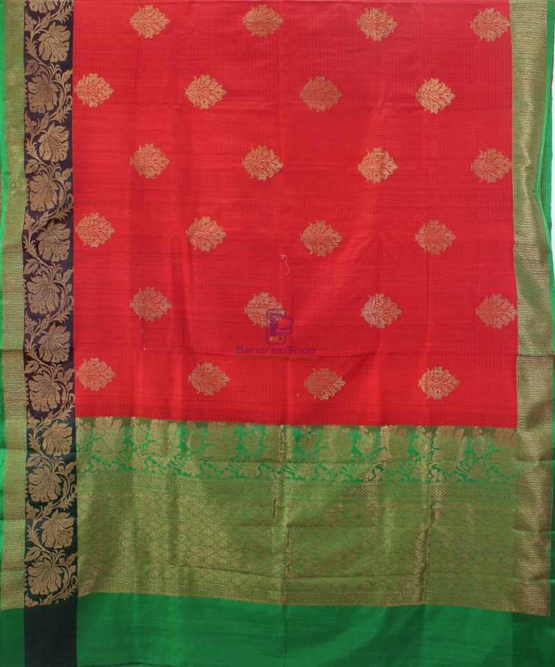 Banarasi Pure Handloom Dupion Silk Red Saree 1