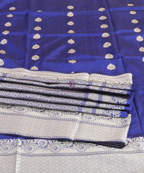 Banarasi Pure Katan Silk Handloom Cobalt Blue Saree 7