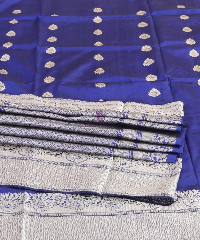 Banarasi Pure Katan Silk Handloom Cobalt Blue Saree 4