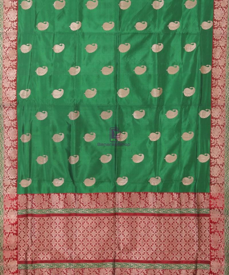 Banarasi Pure Katan Silk Handloom Bottle Green Saree 1