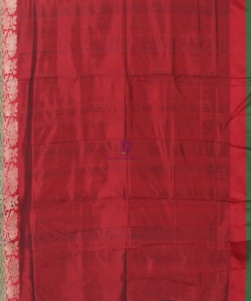 Banarasi Pure Katan Silk Handloom Bottle Green Saree 6