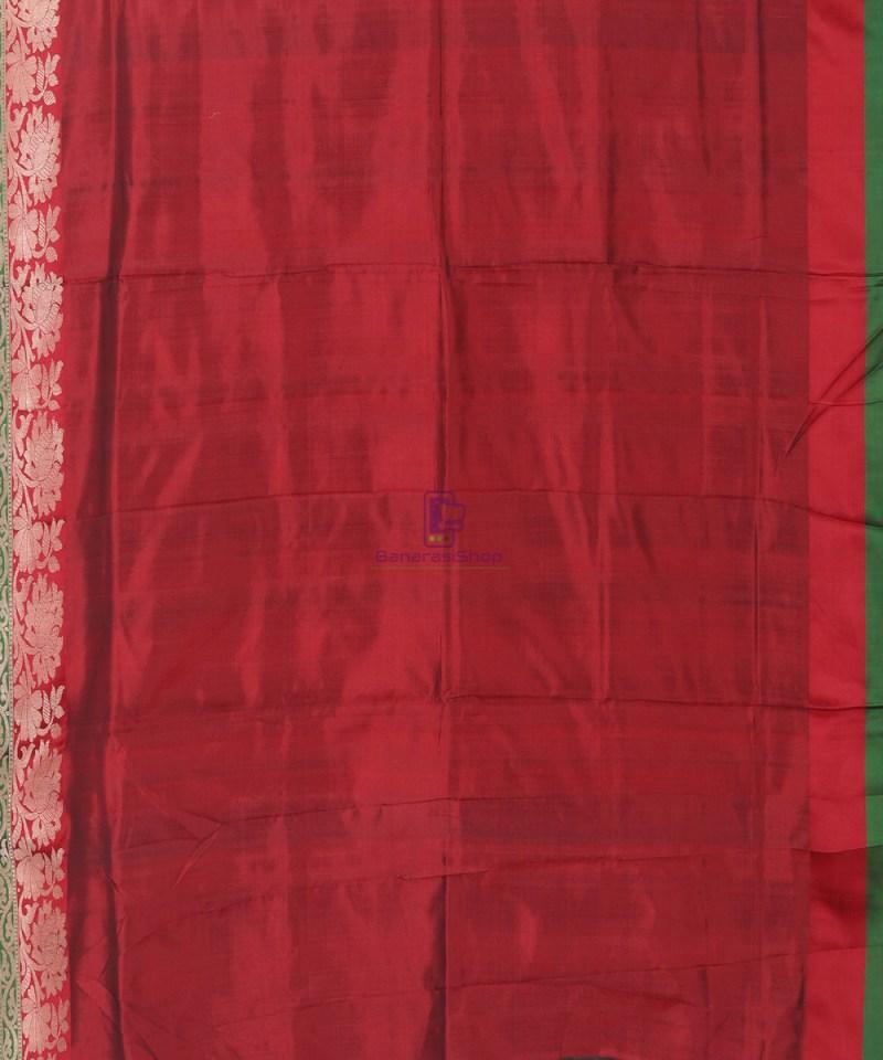 Banarasi Pure Katan Silk Handloom Bottle Green Saree 3