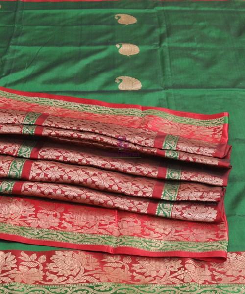 Banarasi Pure Katan Silk Handloom Bottle Green Saree 7