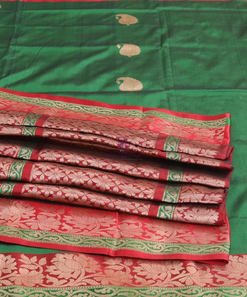 Banarasi Pure Katan Silk Handloom Bottle Green Saree 4