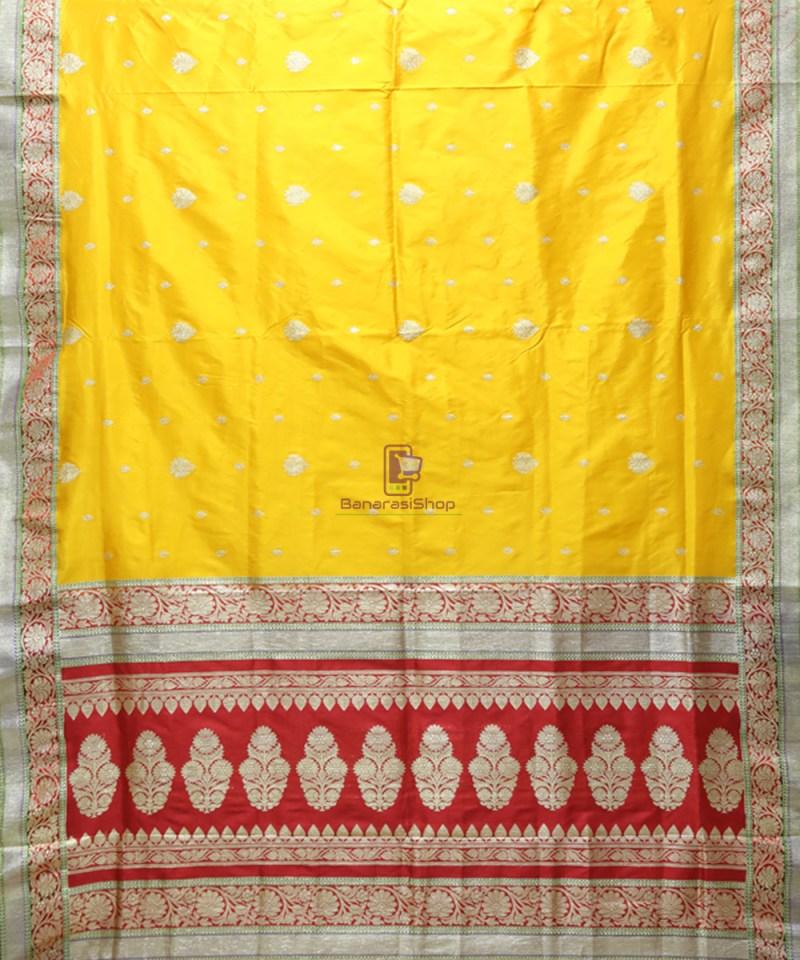 Banarasi Pure Katan Silk Handloom Yellow Saree 1