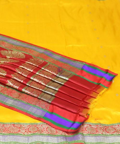 Banarasi Pure Katan Silk Handloom Yellow Saree 7