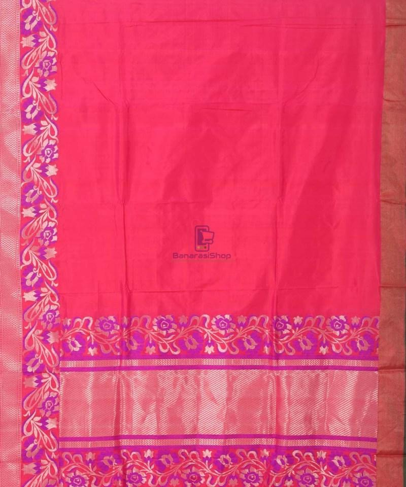 Banarasi Pure Katan Silk Handloom Strawberry Pink Saree 1
