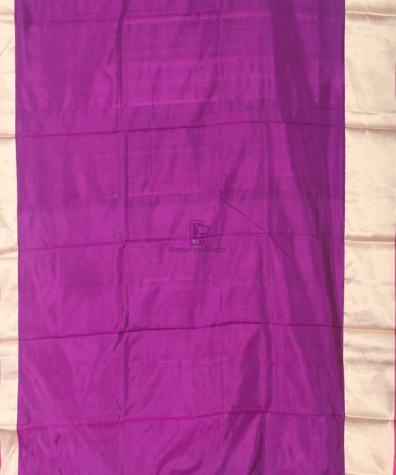 Banarasi Pure Katan Silk Handloom Eggplant Purple Saree 3