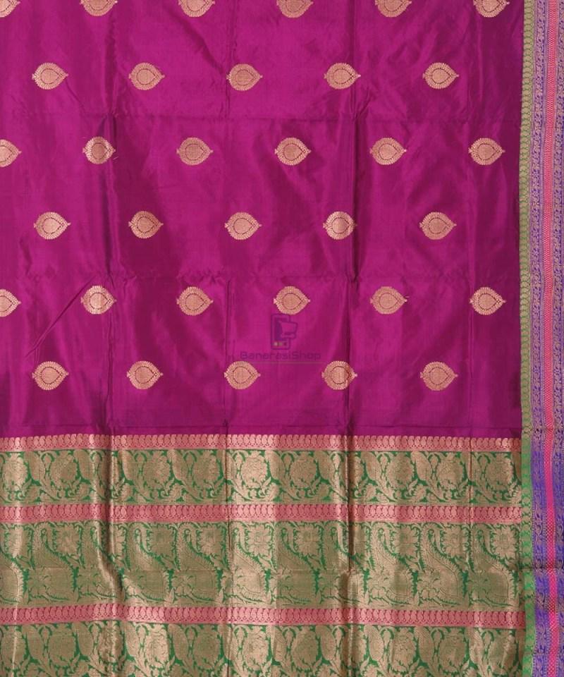 Banarasi Pure Katan Silk Handloom Jam Purple Saree 2
