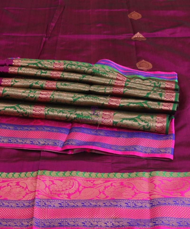 Banarasi Pure Katan Silk Handloom Jam Purple Saree 3