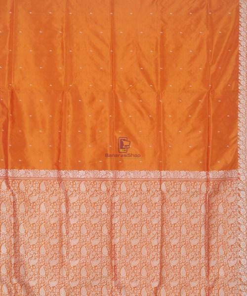 Banarasi Pure Handloom Yam Orange Katan Silk Saree 5