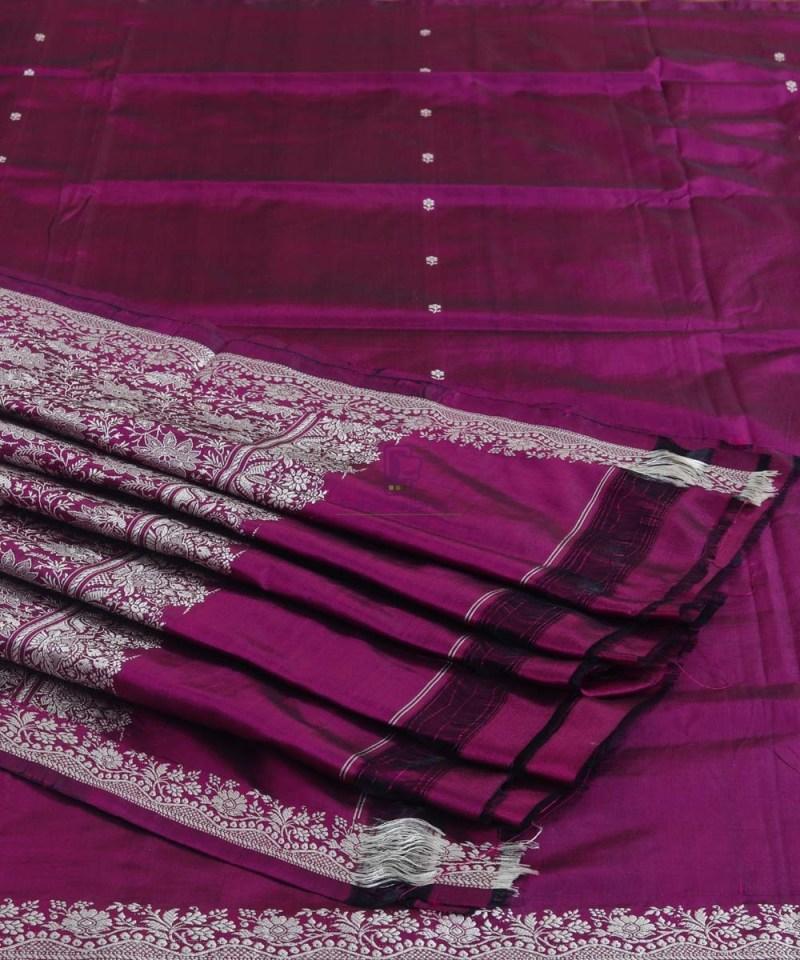 Banarasi Handloom Wine Purple Katan Saree 1