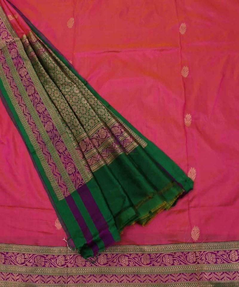 Banarasi Pure Katan Silk Handloom Saree in Pink and Green 3