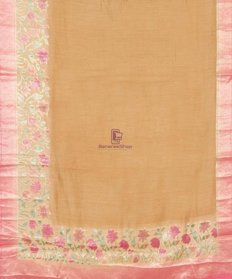 Woven Pure Banarasi Handpainted Muga Silk Biscotti Brown Saree 2