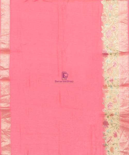Woven Pure Banarasi Handpainted Muga Silk Biscotti Brown Saree 7