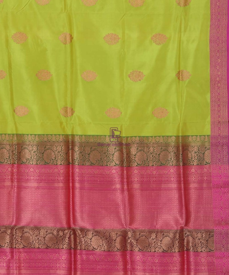 Banarasi Pure Handloom Lime Green Katan Silk Saree 3