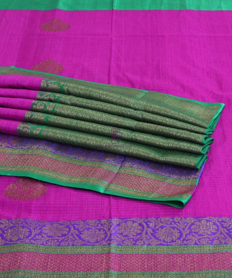 Banarasi Pure Handloom Dupion Silk Taffy Pink Saree 4