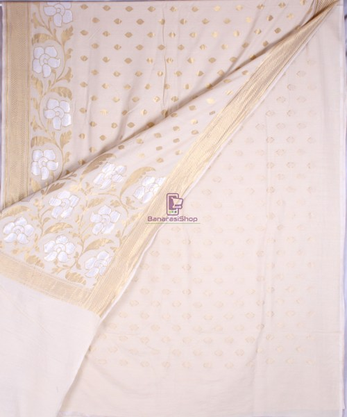 Handwoven Banarasi Muga Silk Saree in Natural Color 4