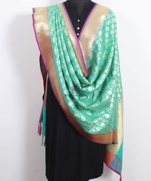 Banarasi Art Silk Green Dupatta 4