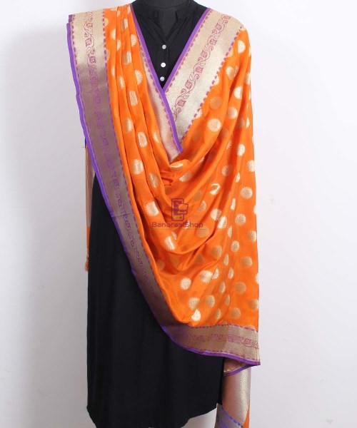 Banarasi Art Silk Orange Dupatta 4